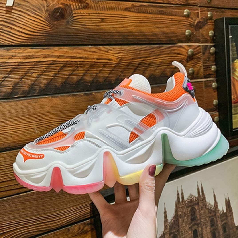 Femme Chaussure de Basket Mode Compensée en Printemps Été Multicolore en Textile Endurance Sneaker a Lacets Casual Antichoc Orange