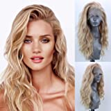 Blonde Lace Front Short Wavy Wigs for Women Kinky Curly Full Wigs with Baby Hair Wig Heat Resistant Synthetic Fiber Costume Party Wig (Gold)
