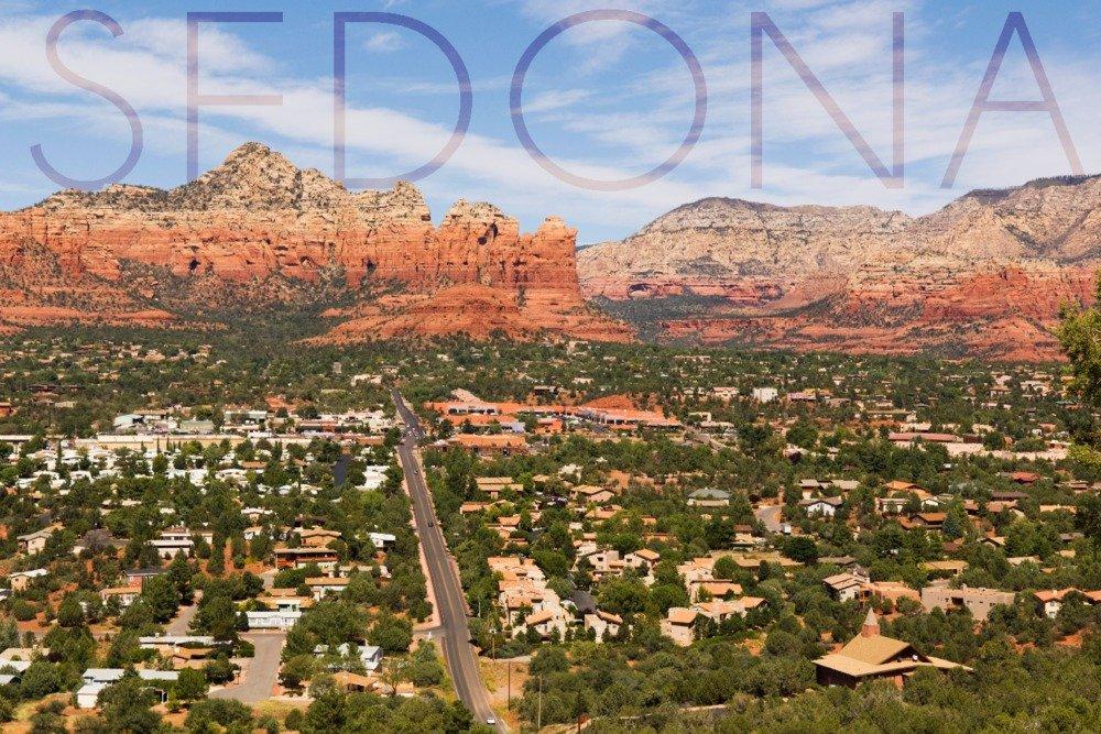 Sedona, Arizona - Mountain and Valley View (9x12 Art Print, Wall Decor Travel Poster)