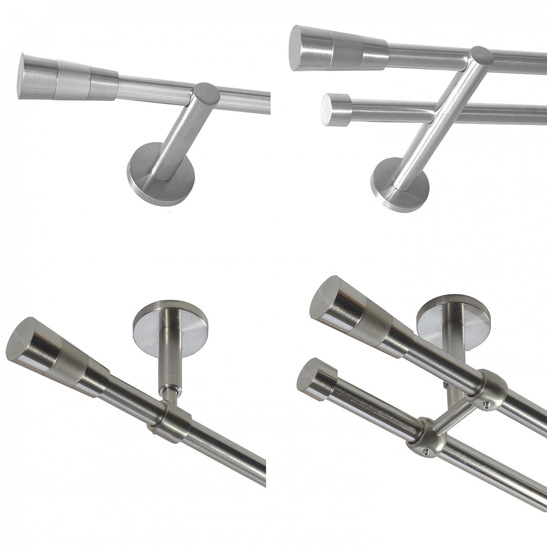 Gardinenstange mit Edelstahlrohr V2A 16mm Wandträger Deckenträger 1-läufig oder 2-läufig wählbar Modern Kegel E11 von Basit®, Design Länge H20E16 320cm (2x160 cm) zweiläufig