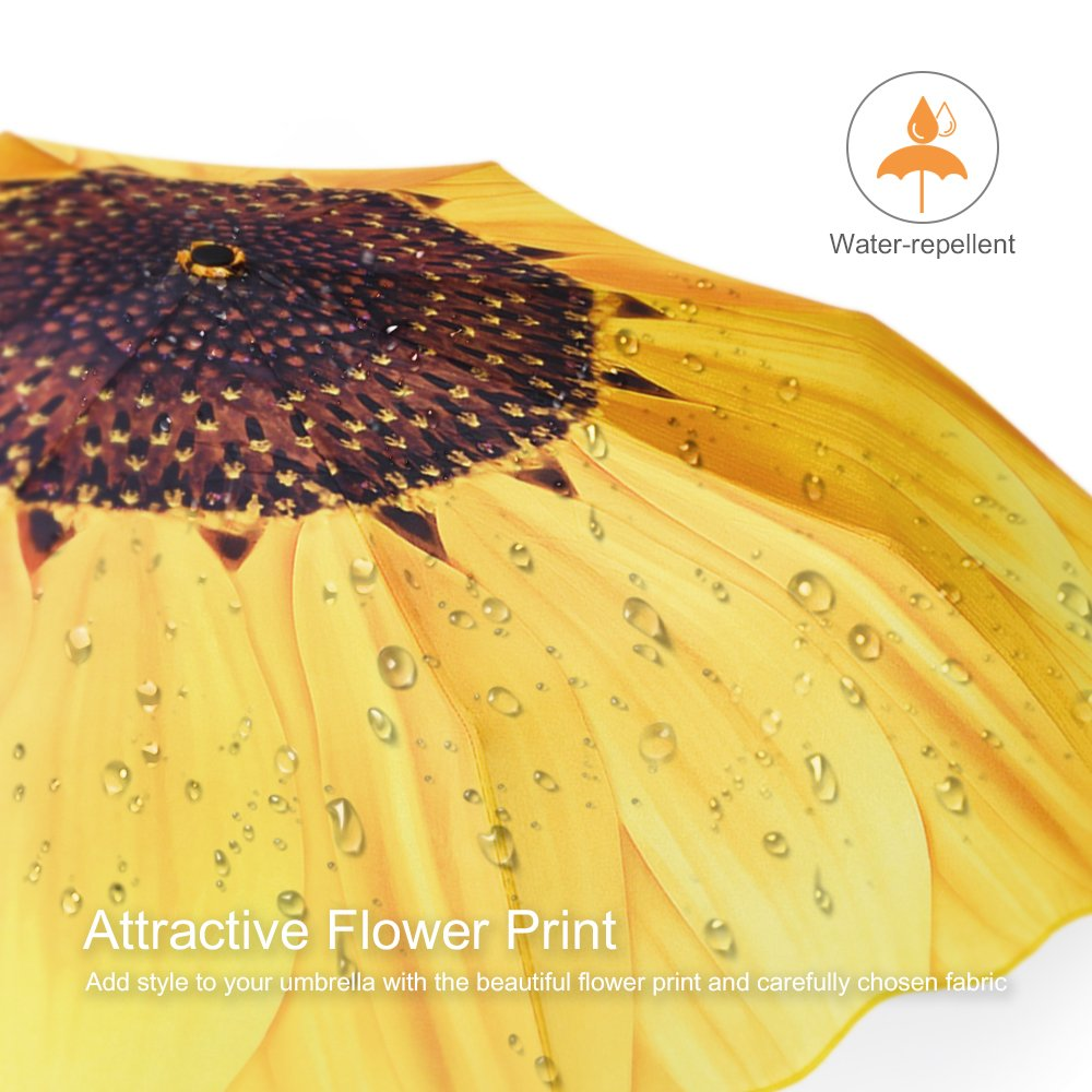 Plemo Automatic Umbrellas for Business and Travels or Summer Wedding Gifts Windproof Sunflower Design Compact Folding Umbrellas with Anti-Slip Rubberized Grip UA/_09 Windproof Compact Folding Umbrellas with Anti-Slip Rubberized Grip