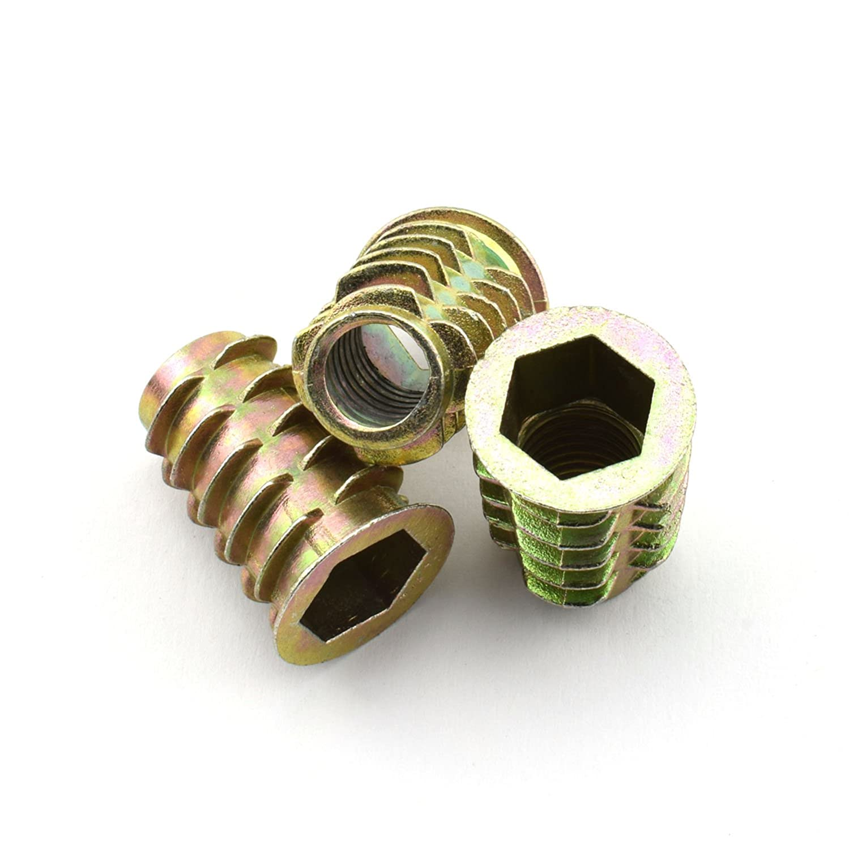 LQ Industrial 8pcs 25mm Furniture Screw in Nut Zinc Alloy Bolt Fastener Connector Hex Socket Drive Threaded Insert Nuts For Wood Furniture Assortment 3 8 16