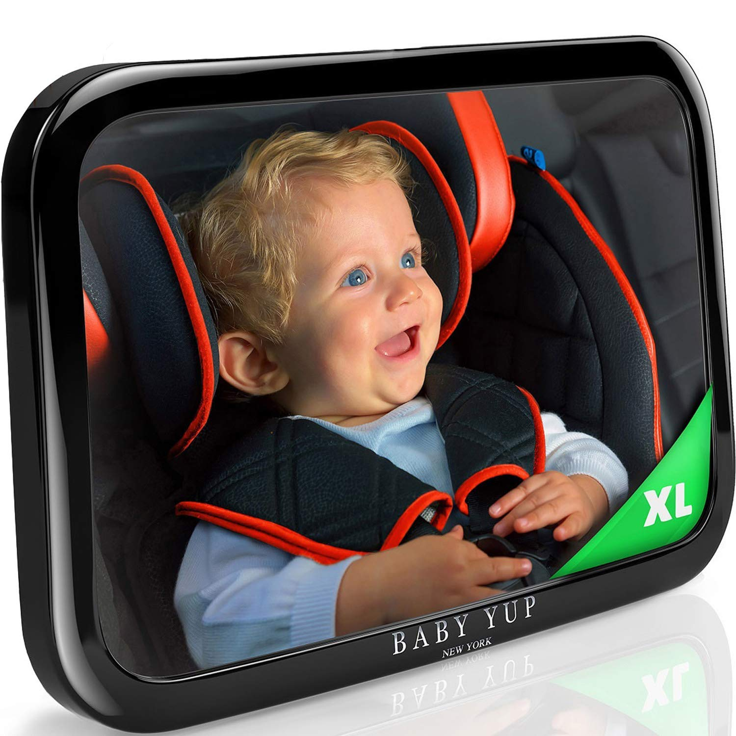 Baby Car Mirror for Rear Facing Car Seat - Fully Adjustable, Shatterproof, And Built To Stay In Place - Best Extra Large Back Seat Car Baby Mirror To Check On Your Baby While Driving by BABY YUP