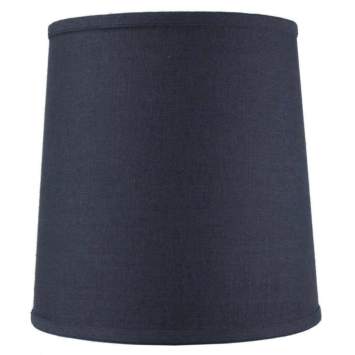 10x12x12 Textured Slate Blue Linen Fabric Drum Lampshade with Brass Spider fitter By Home Concept - Perfect for table and desk lamps - Medium, Blue