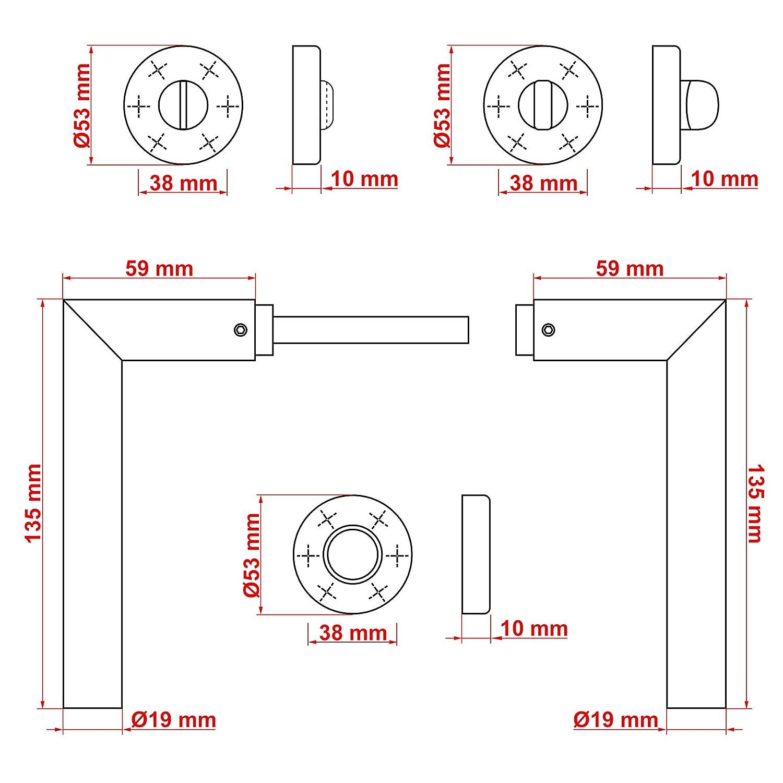 TecTake T/ürgriff Edelstahl geb/ürstet T/ürdr/ücker T/ürbeschlag T/ürklinke matt L-Form diverse Modelle WC | Nr. 402382