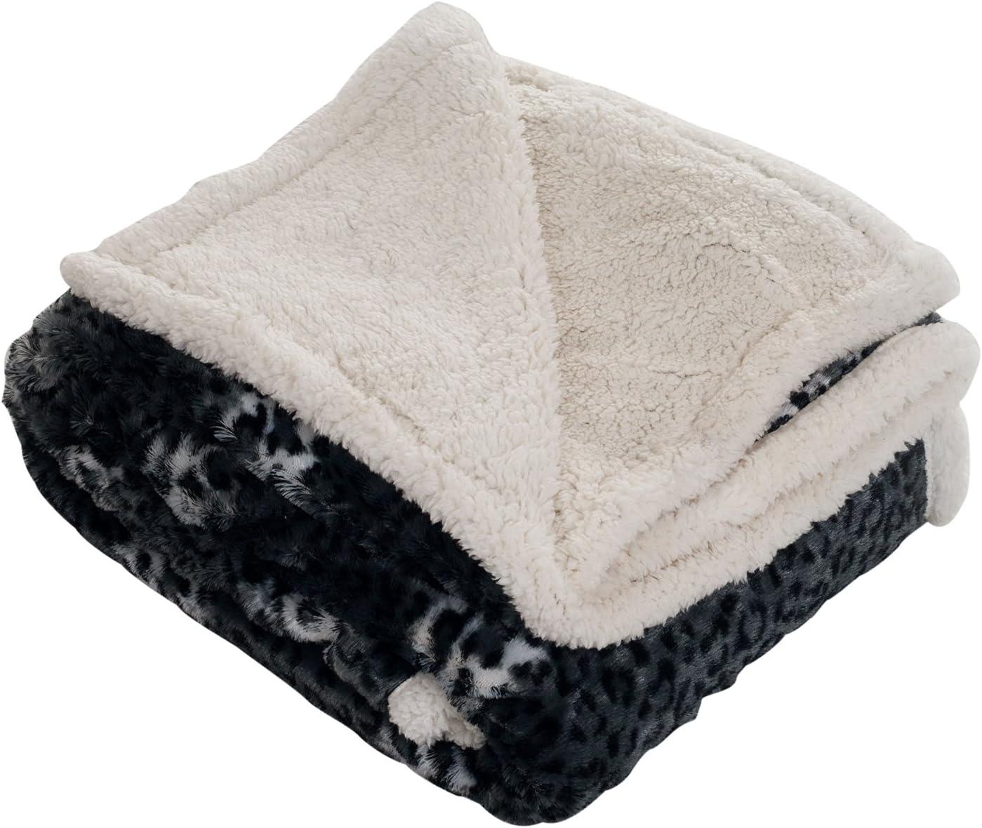 Bedford Home Cheetah Throw Blanket-Fleece/Sherpa