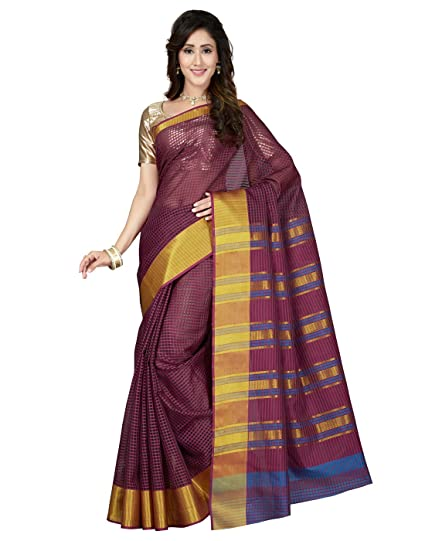51d427d4a9c7a Saree Swarg Burgundy Art Silk Saree Sari with Blouse 8159  Amazon.in   Clothing   Accessories