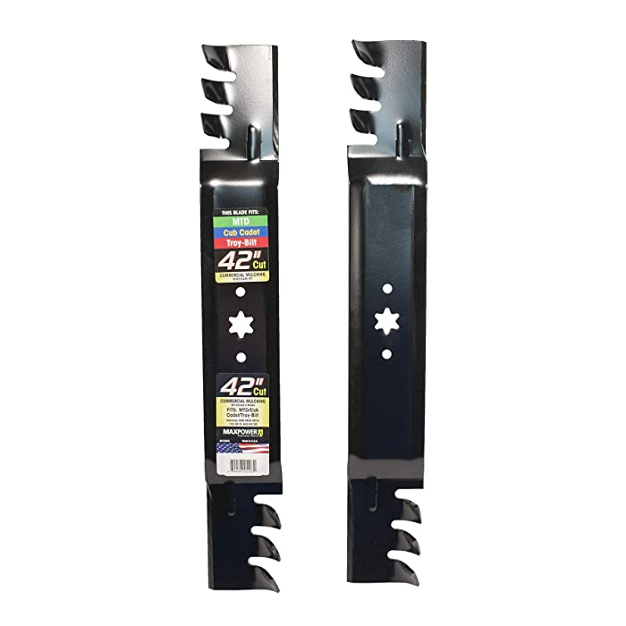 """Maxpower 561532XB Commercial Mulching Blade Set for 42"""" Cut MTD/Cub Cadet/Troy-Bilt Mowers, Replaces OEM No. 942-0616, 742-0616, 942-04126 and Many Others"""