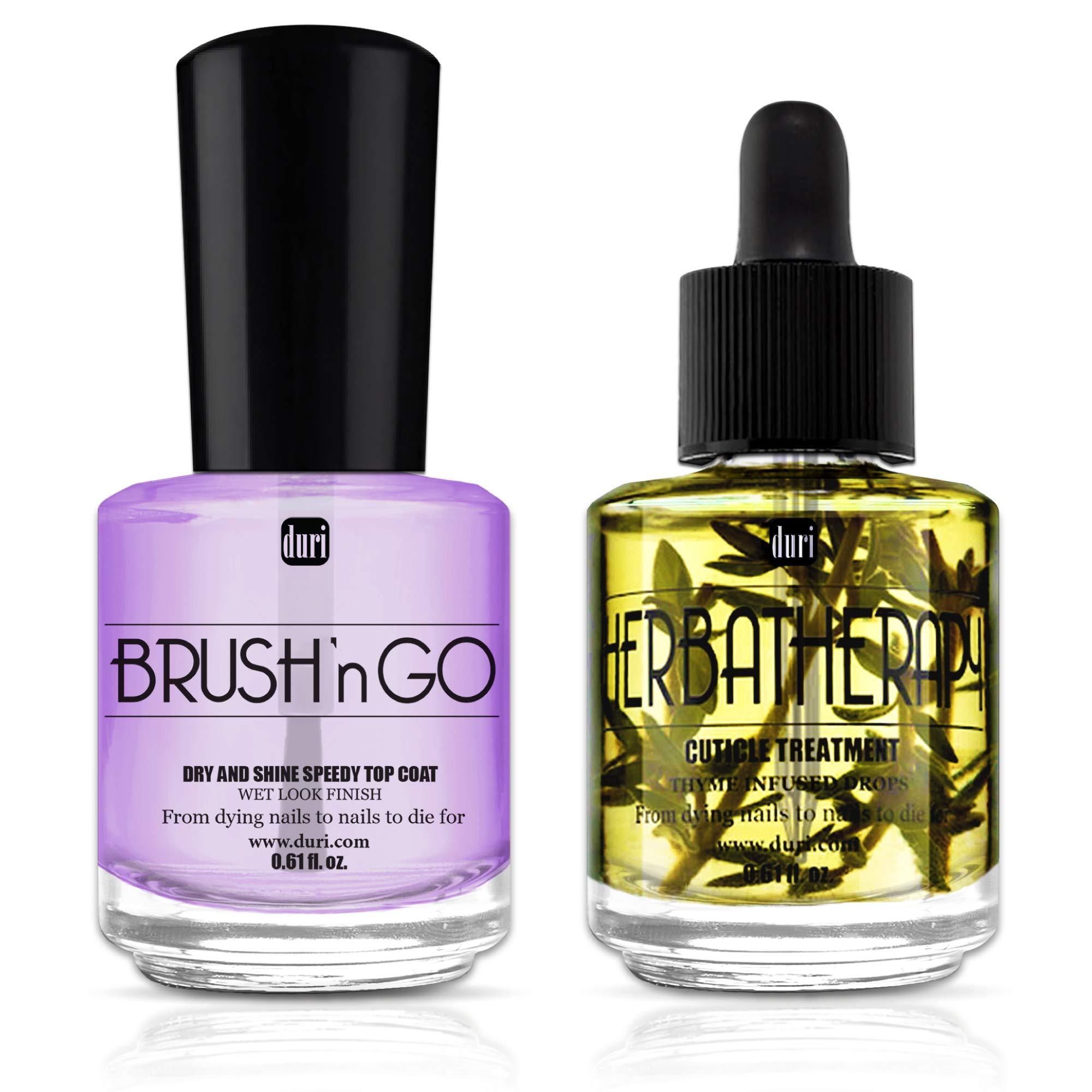duri Top Coat and Cuticle Treatment Combo, Brush'n GO Dry & Shine Speedy Top Coat 0.61 fl.oz, Herbatherapy Thyme Infused Cuticle Treatment Drops 0.61 fl.oz. by duri