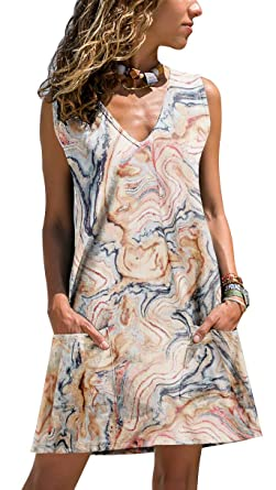 296de9c703a17c ETCYY Women s Summer Casual Sleeveless Floral Printed Swing Dress Sundress  with Pockets Beige