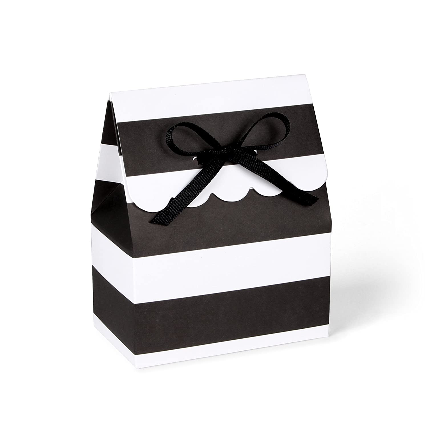 Amazoncom Black And White Striped Favor Boxes With Black Grosgrain