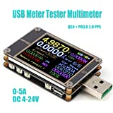 MakerHawk USB Tester, USB Power Meter, Type-C Voltage and Current Meter, DC 4~24.000V 5.0000A USB Charger Tester, Multimeter Voltage Tester, Color LCD Display Tester, USB Load, PD QC 2.0 QC 3.0