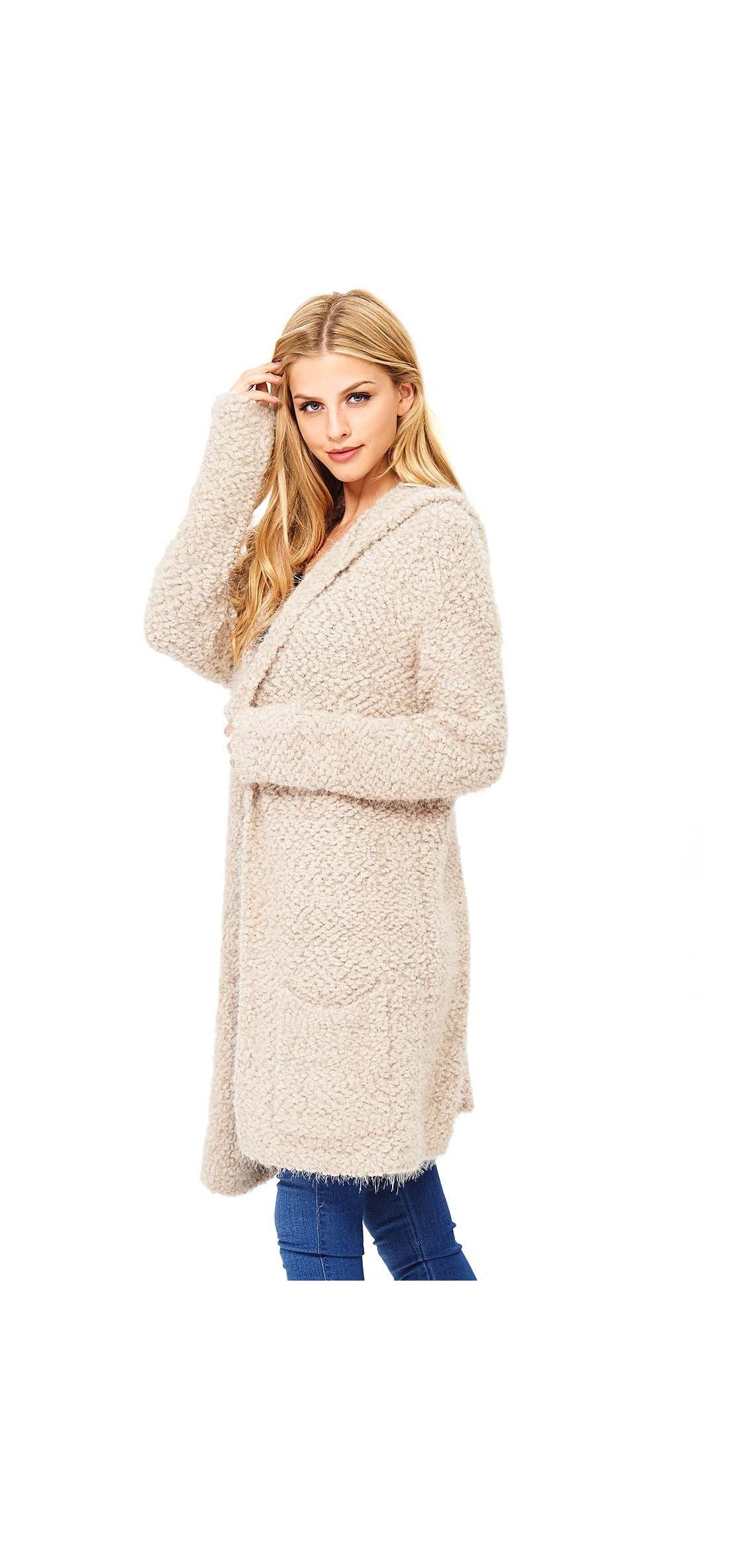 Women's Hoodie Eyelash Cardigan Sweater