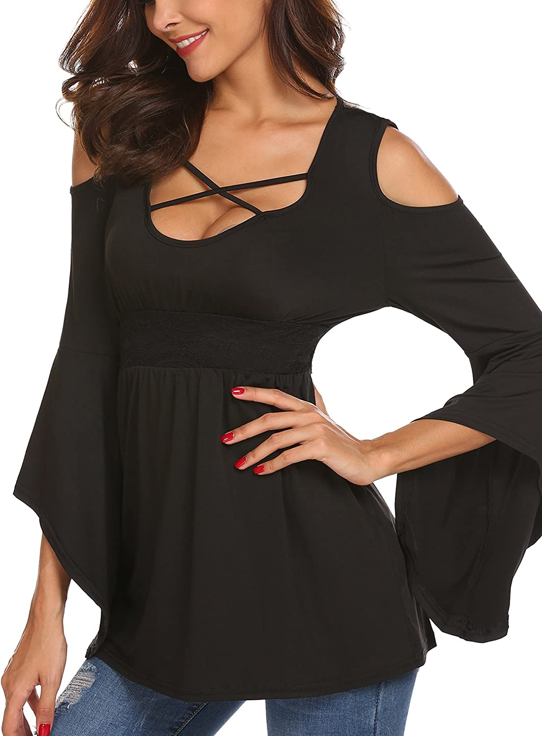 Women/'s Criss Cross Caged 3//4 Sleeve Relaxed Casual Fashion Tunic Top Shirt