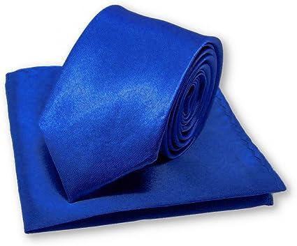 Cravate slim bleu roi et sa pochette mouchoir