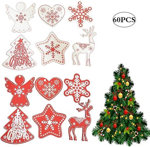 12 Holz Schneeflocke Weihnachtsbaum hängende Weihnachts Anhänger Ornament