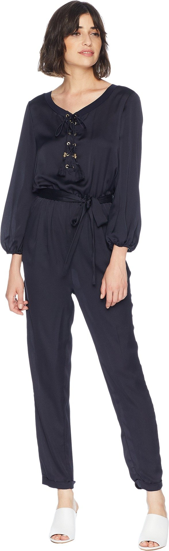 Juicy Couture Black Label Womens Satin Pleated Jumpsuit Navy M