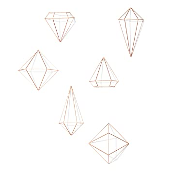 Umbra Metal Prisma Wall Decor Copper 316 x 191 x 125 cm set of