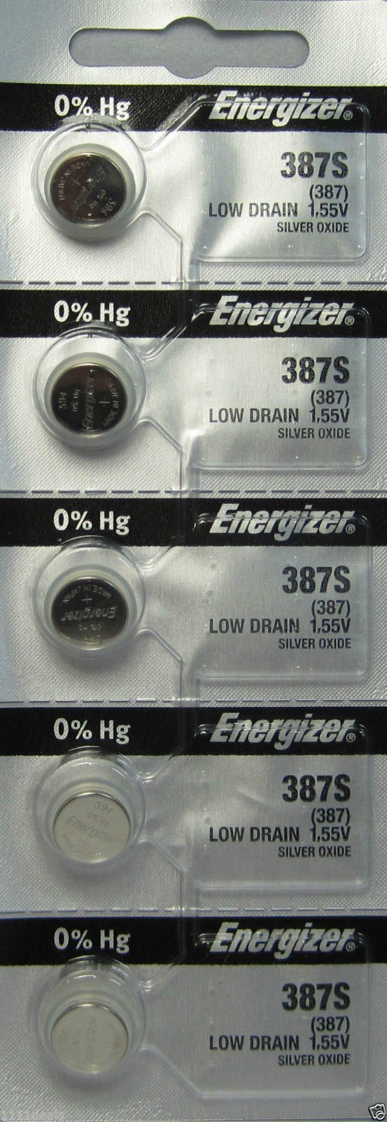 Energizer 387S Button Cell Silver Oxide Watch Battery Pack of 5 Batteries