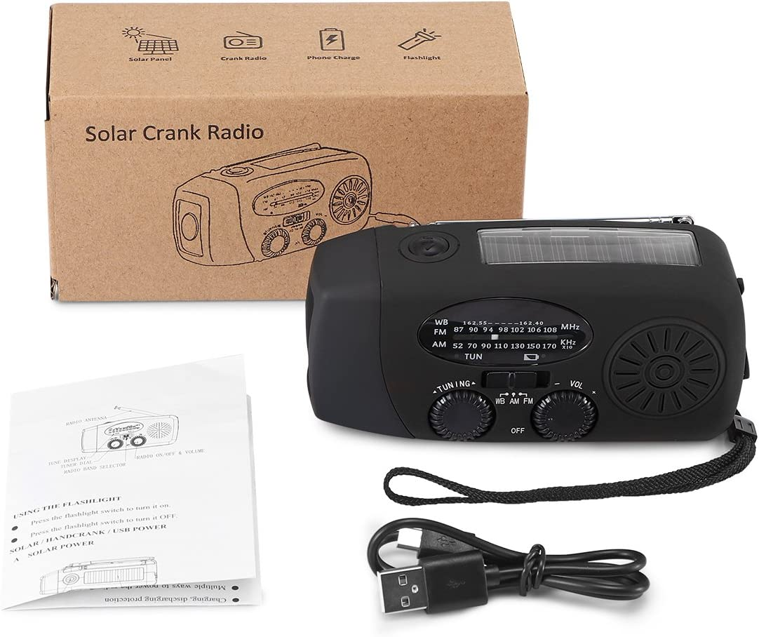 Vvciic Built-in 1000mAh Akku der Kurbel Stromversorgung Solar Powered Radio AM FM mit 3-LED Taschenlampe Elektrische Alarmzeit Display Power Bank