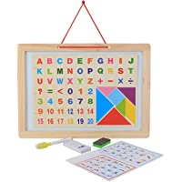 Vibgyor Vibes 2 in 1 Magnetic Alphabets, Numbers and Arithmetic Symbols with White Board, Chalk, Duster and Marker + Tangaram Puzzle, Multi Color