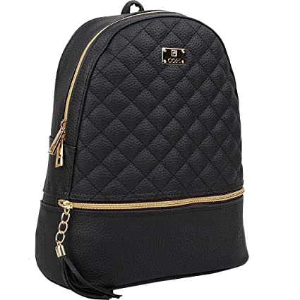 bb0773083 Copi Women's Simple Design Fashion Quilted Casual Backpacks Black
