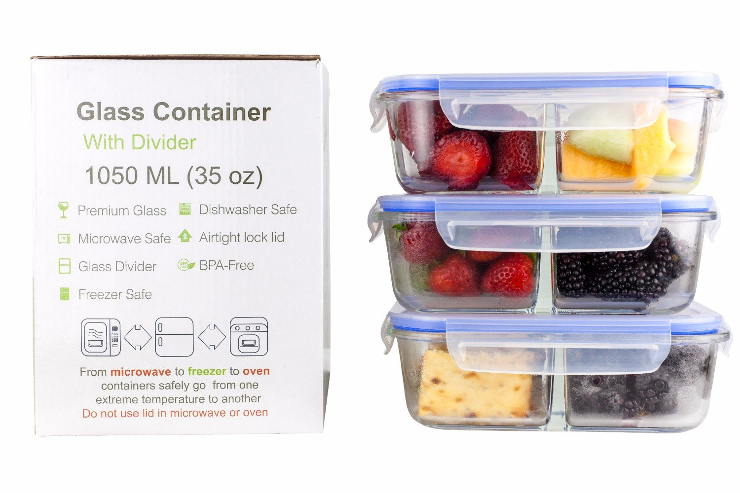 Glass Meal Prep Food Storage Portion Control Container 2-Compartment Divider with Locking Lid/Premium Quality/BPA-FREE/Air Tight/Leakproof/Freezer/Oven/Dishwasher/Microwave Safe (1-3 pc sets)35 oz (3)