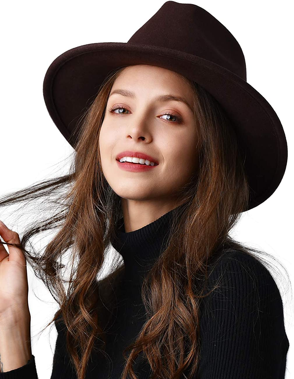 FURTALK 100% Wool Wide Brim Fedora Panama Hat with Belt Buckle Fedora Hats  for Men Women at Amazon Women's Clothing store