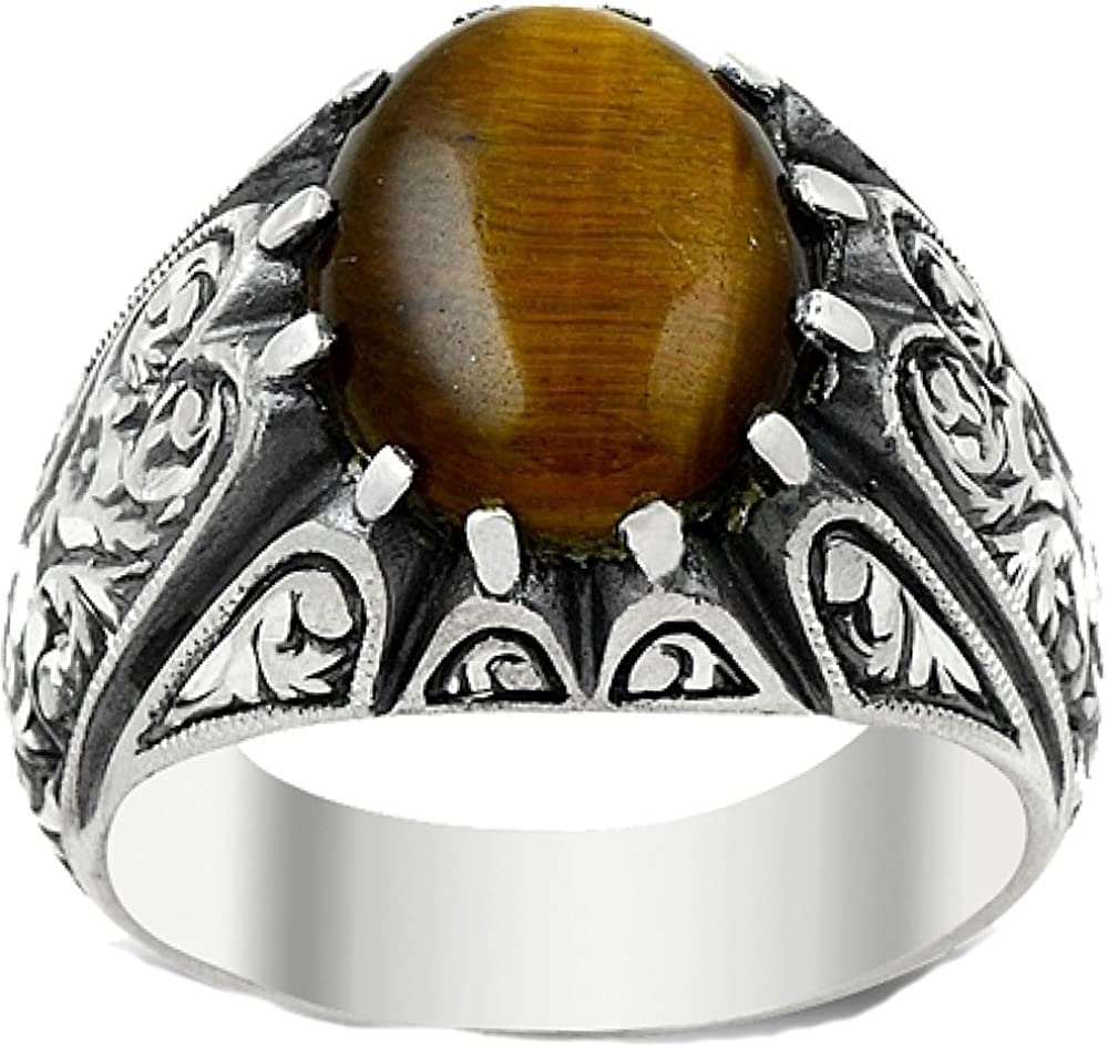 Steel Pen Craft Falcon Jewelry 925 Sterling Silver Men Ring Free Express Shipping Tiger-Eye Natural Gemstone