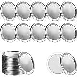 Canning Jar Lids, 24Pcs Mason Jar Lids Regular Mouth Canning Lids, Airtight Split-Type Metal Leak Proof and Silver Canning Ja