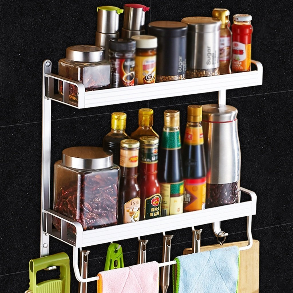 MoMo Küchenregal Wandmontierte Doppelschichten Geschirr Lagerregal Gewürzregal, Raum Aluminium, mit Haken und Handtuchhalter