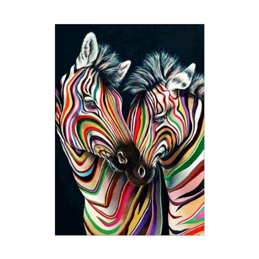 Hoxin Zebra Stickerei Malerei - 5D Voller Diamant, Kreuz Handwerk Stich Dekor SSL002