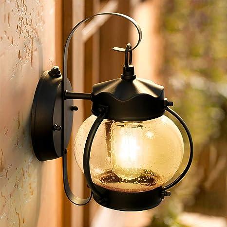 Dusk To Dawn Sensor Wall Lantern Outdoor Light Fixture Wall Mount Black Exterior Led Outdoor Lighting Porch Light With E26 Base Socket Anti Rust Seeded Glass Waterproof Wall Lamp For Garden Garage