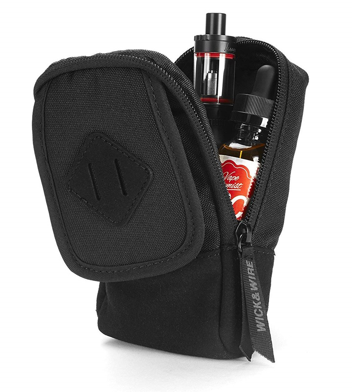 Vape Case for Travel – Secure, Organized, Premium Vape Bag – Fits Any Mechanical Box Mods, e-Juice, Battery, Tank Holder & Accessories - Wick and Wire (Primo Black/Suede)