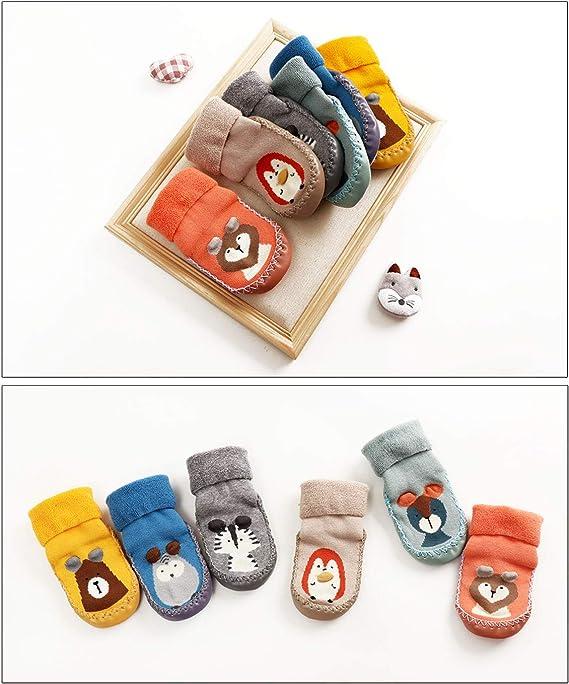 6-12 Meses LIUCHENGHANG Beb/é Ni/ños Calcetines Largos Antideslizantes para Invierno Entretiempo Calentito Zapatillas de Primer Paso para Reci/én Nacido con Dibujo de Animal