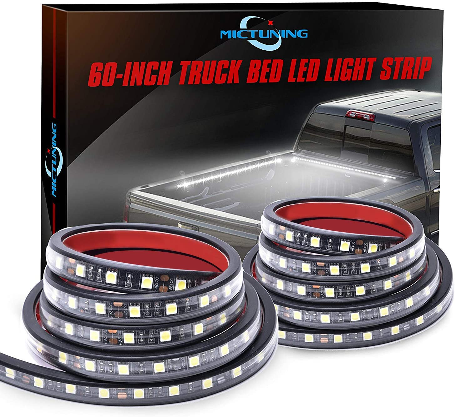 MICTUNING 60-Inch White LED Cargo Truck Bed Light Strips
