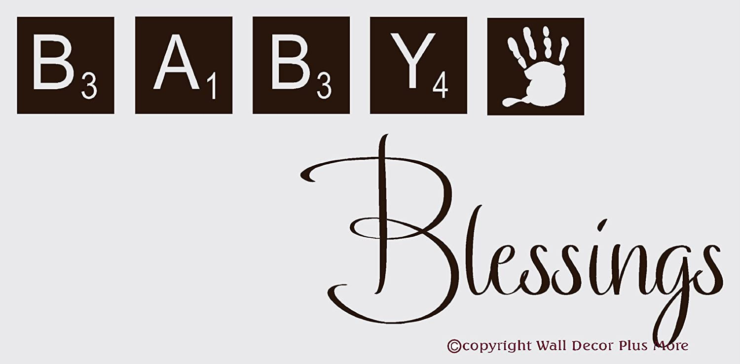 36 x 15-Inch Wall Decor Plus More WDPM2861  Baby Blessings with Scrabble Tiles Nursery Wall Decal Vinyl Sticker Chocolate Brown