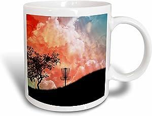 3dRose mug_173454_1 Basket On A Hill - Silhouette Of A Frisbee Disc Golf Basket With Chains Ceramic Mug, 11 oz