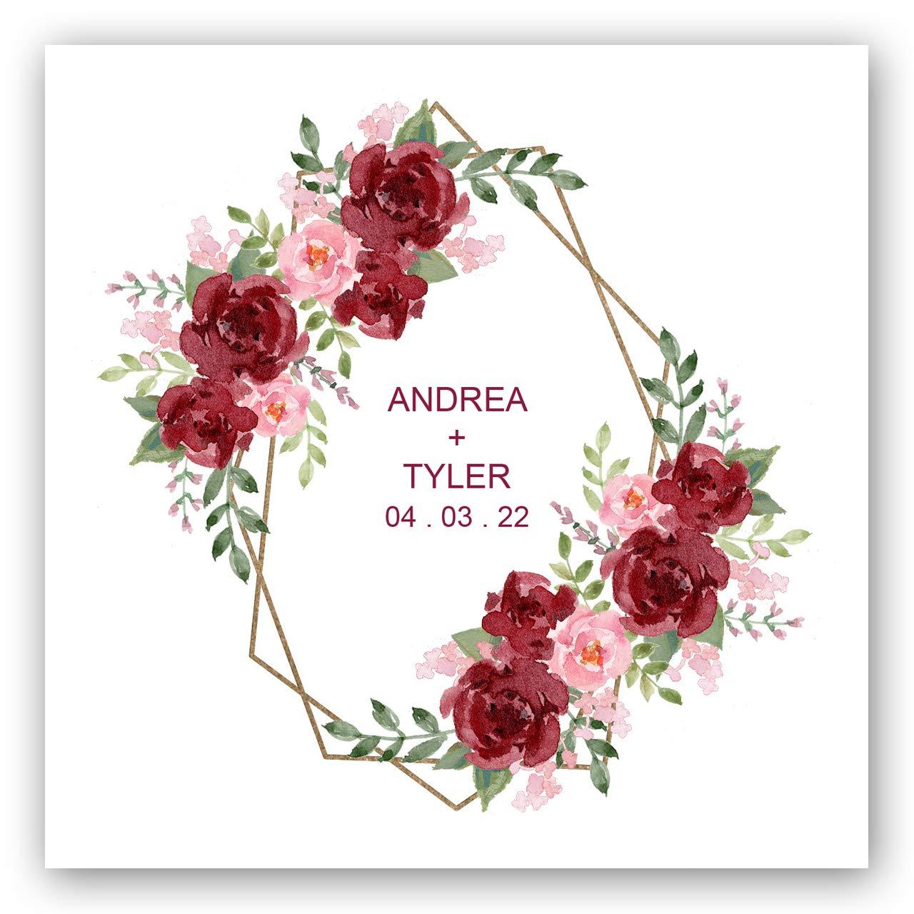 Vibrant Floral Personalized Beverage Napkins- 100 Custom Printed White Uncoined Napkins. 4 3/4'' x 4 3/4'' folded. Made in the USA by Canopy Street