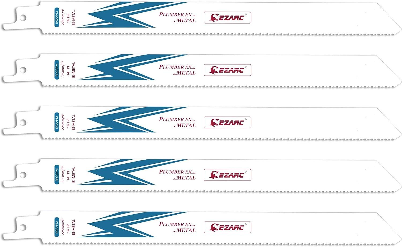 EZARC Hojas de sierra sable Bimetálica Cobalt R922PM 225mm 14TPI puede Cortar Metales - 5 piezas