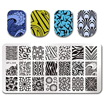 Amazon.com : Born Pretty Nail Art Stamp Template Image Plate Wave ...