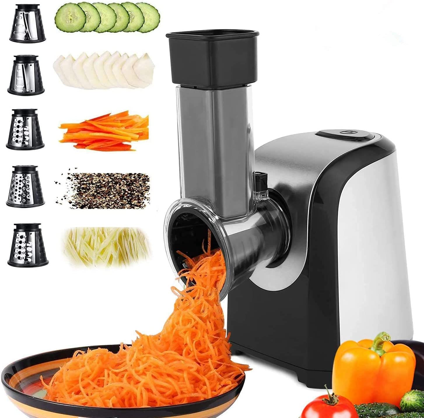 Salad machine Electric Spiralizer Vegetable Slicer Shredder Vegetable Cutter Cheese Grater for Home Kitchen Use with 5 Stainless Steel Rotary Blades(US Stock)