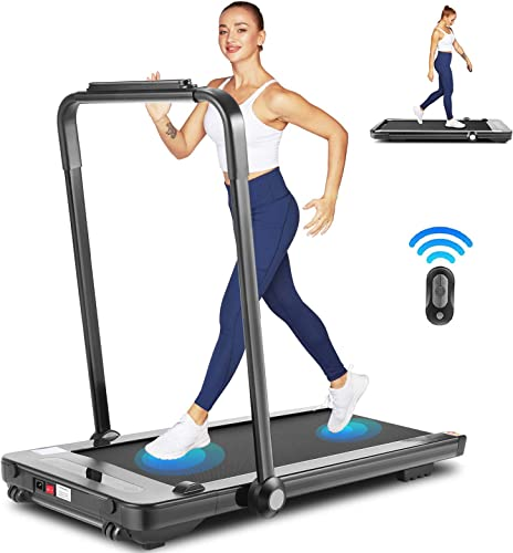 fioleken 2 in 1 Under Desk Treadmill for Home Use,Portable Electric Treadmill Workout with Bluetooth Speaker, Remote Control LED Display,Folding Treadmill for Home Office Installation-Free