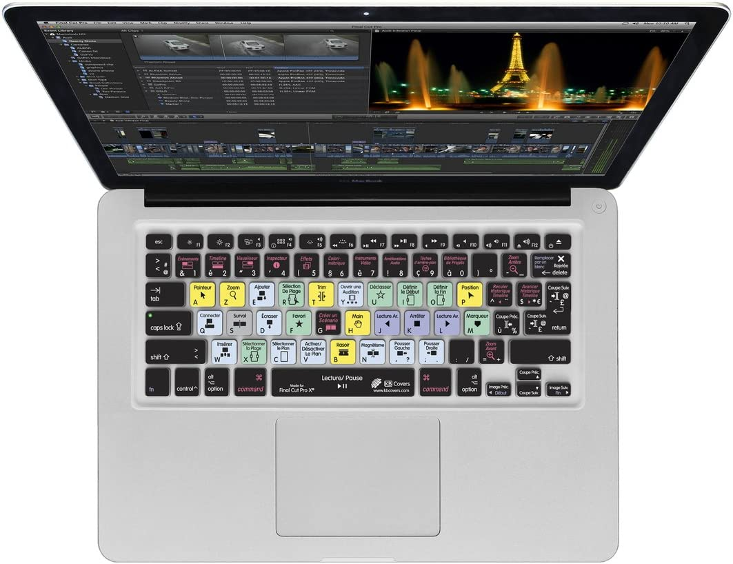 Final Cut Pro X French-AZERTY KB Covers Keyboard Cover for MacBook//Air 13//Pro //Retina 2008+ FCPX-M-AZY-2