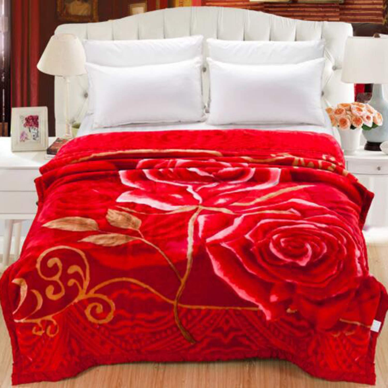厚手の毛布赤い毛布の結婚式のギフトの家の寝具 B07MW53G6C
