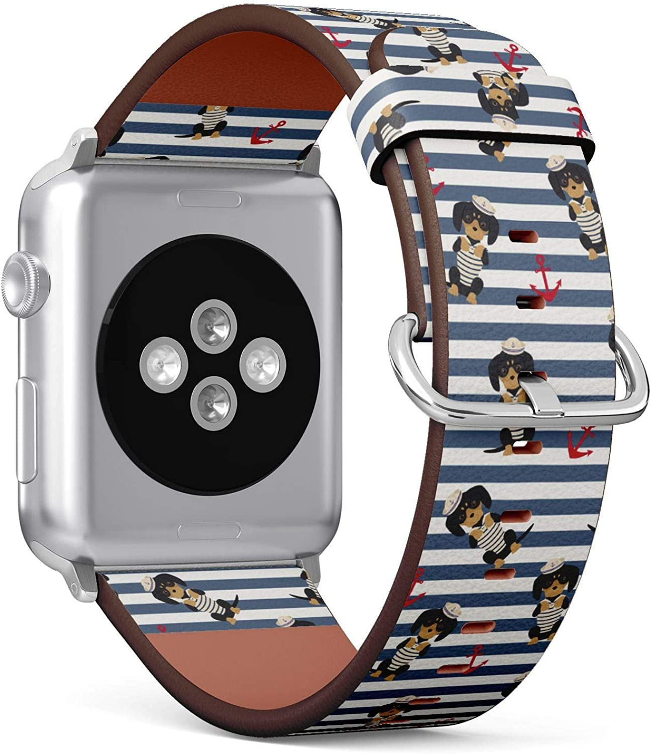 (Dachshund Puppy in a Sailorman Costume with Anchors Pattern) Patterned Leather Wristband Strap for Apple Watch Series 4/3/2/1 gen,Replacement for iWatch 38mm / 40mm Bands