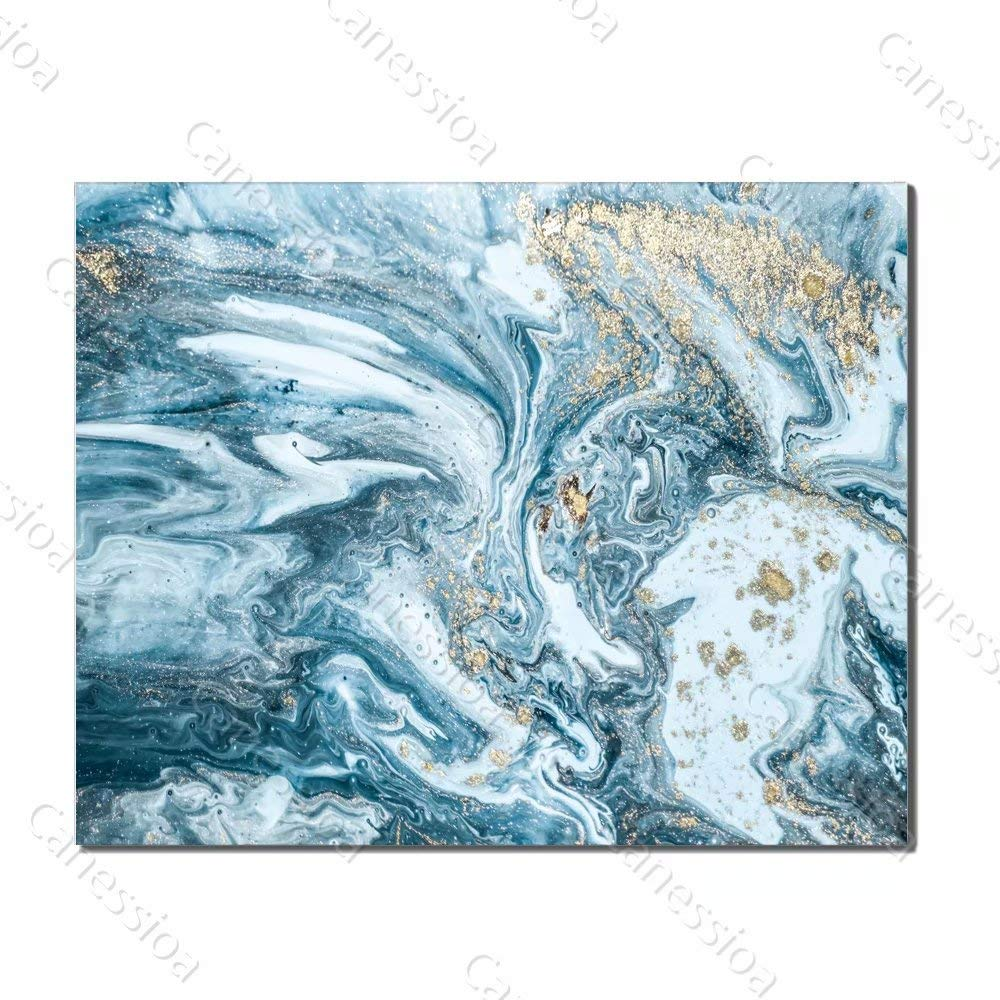 Canessioa Wall Art Canvas Light Blue Powder Flow Abstract Oil Painting Artwork Home Decor Wall Decoration for Bedroom Bathroom Living Room Kitchen Hallway Office Corridor Staircase(20x16inch Unframed)