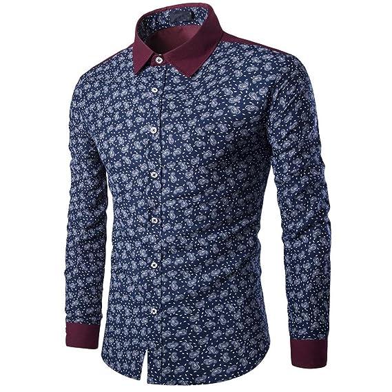 Blusa para Hombre Casual Manga Larga Negocio Ajustado Retro Negocio Botón Formal Impresión Camiseta para Hombre