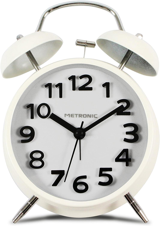 Metronic 477331 - Despertador Vintage, Cuarzo, silencioso, Doble Campana, Potente Alarma, con botón LED para iluminar la Esfera, Blanco