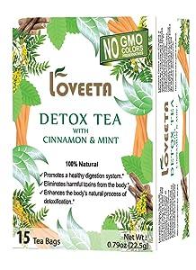 24 Pack Of Loveeta Wellness Detox Tea Cinnamon & Mint - 15 Tea Bags (Gmo Free, Gluten Free, Dairy Free, Sugar Free And 100% Natural)